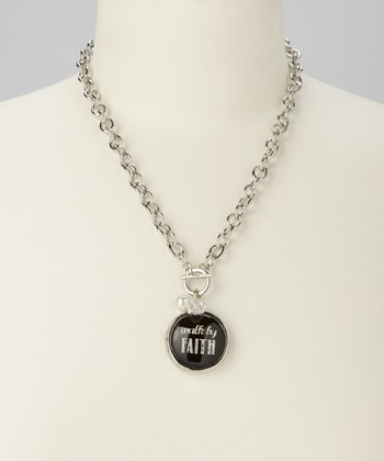 Silver & Black Link 'Walk by Faith' Charm Necklace