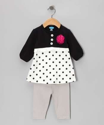 Black Polka Dot Tunic & Leggings - Infant