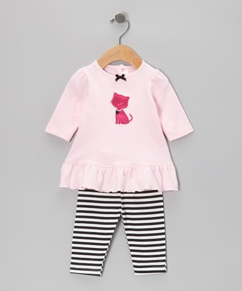 Pink Kitty Ruffle Tunic & Stripe Leggings - Infant