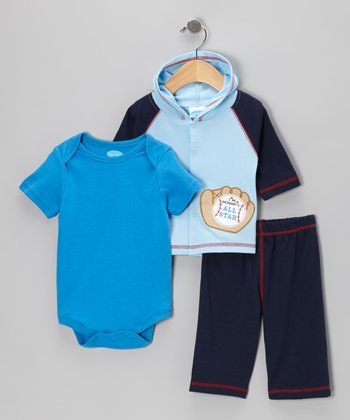Light Blue Baseball Glove Hooded Cardigan Set