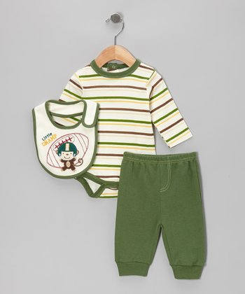 Green Stripe Monkey Appliqué Bodysuit Set - Infant