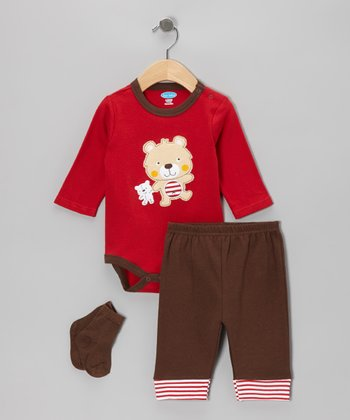 Red Bear Appliqué Bodysuit Set