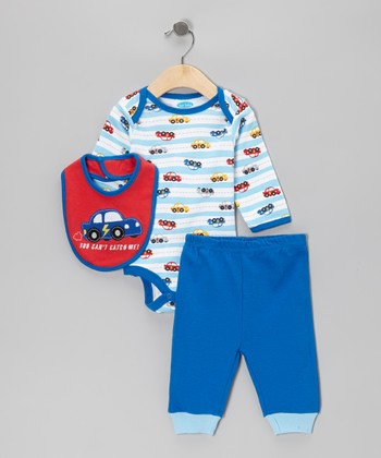 Blue Stripe Racecar Bodysuit Set
