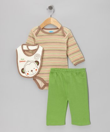 Tan Stripe Monkey Bodysuit Set - Infant