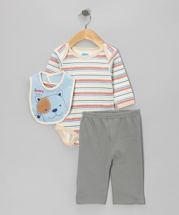 Red Stripe Puppy Bodysuit Set - Infant