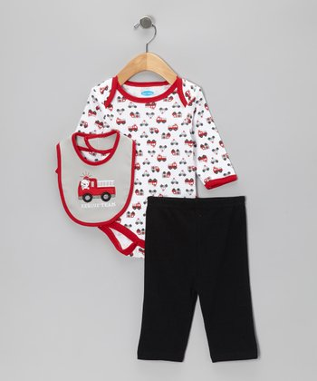 Red Fire Truck Bodysuit Set - Infant