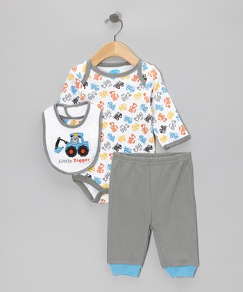 Gray Digger Bodysuit Set - Infant