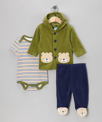 Green & Navy Bear Hooded Cardigan Set