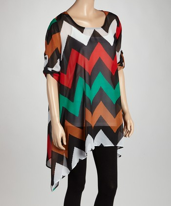 Green & Brown Zigzag Sheer Sidetail Tunic