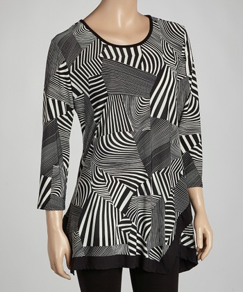 Black & White Abstract Handkerchief Tunic