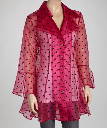 Fuchsia Polka Dot Button-Up