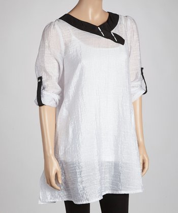 White & Black Trim Tunic - Women & Plus