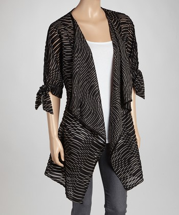 Black Abstract Point Hem Open Cardigan