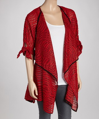 Red Abstract Point Hem Open Cardigan
