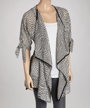 White Abstract Point Hem Open Cardigan