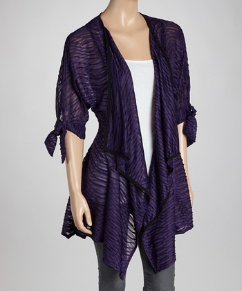 Purple Abstract Point Hem Open Cardigan
