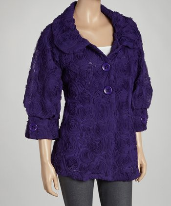 Purple Rosette Jacket - Women & Plus