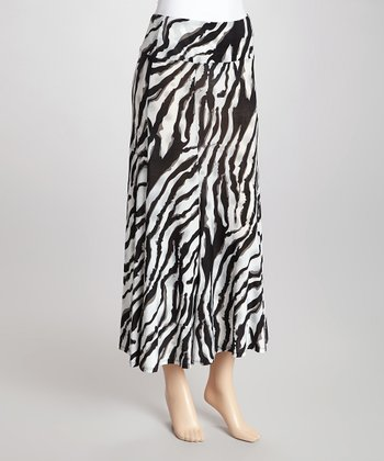Gray & Black Zebra Skirt