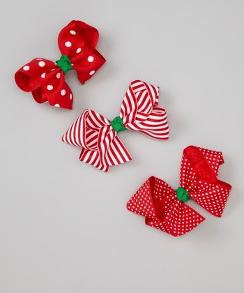 Red & Green Large Holiday Bows Set