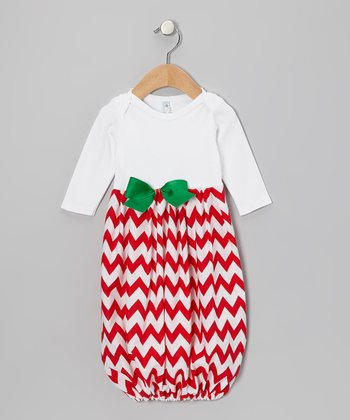 Red & White Zigzag Gown - Infant