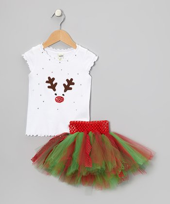 White Reindeer Tee & Christmas Tutu - Infant, Toddler & Girls