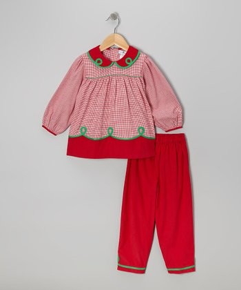 Red Houndstooth Top & Corduroy Pants - Infant