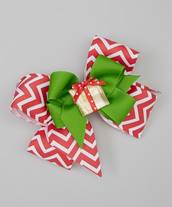 Red & Green Zigzag Present Bow Clip Set
