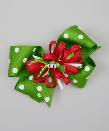 Green & Red Polka Dot Korker Bow Clip Set
