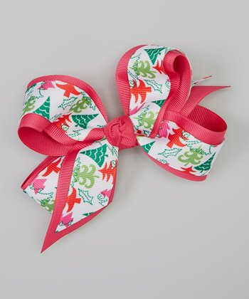 Pink & Green Winter Tree Bow Clip