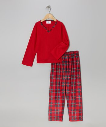 Red Thermal Pajama Set - Girls