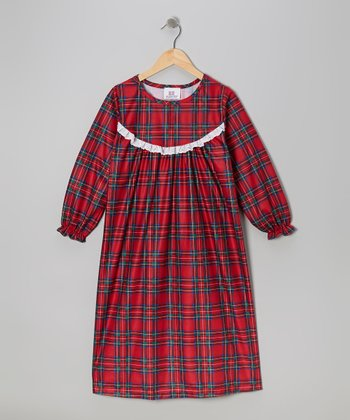 Red Holiday Plaid Nightgown - Toddler & Girls