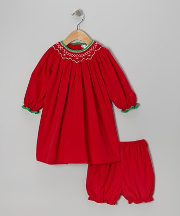 Red & Green Bishop Dress & Bloomers - Infant