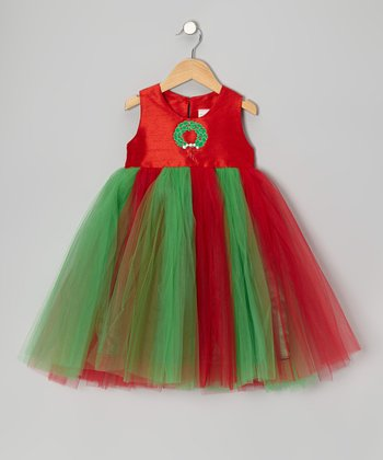 Red & Green Wreath Tulle Dress - Toddler & Girls