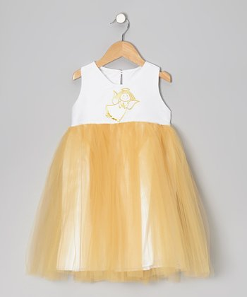 Gold Angel Tulle Dress - Toddler & Girls