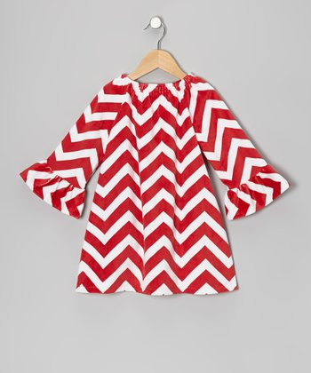 Red Zigzag Minky Dot Peasant Dress - Infant, Toddler & Girls