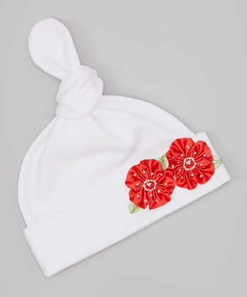 White & Red Double Bead Flower Single-Knot Beanie