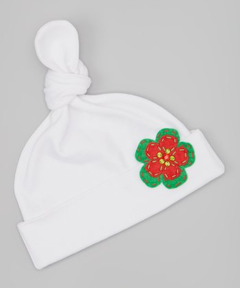 White & Green Gem Flower Single-Knot Beanie