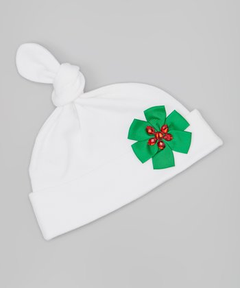 White & Green Gem Bow Single-Knot Beanie
