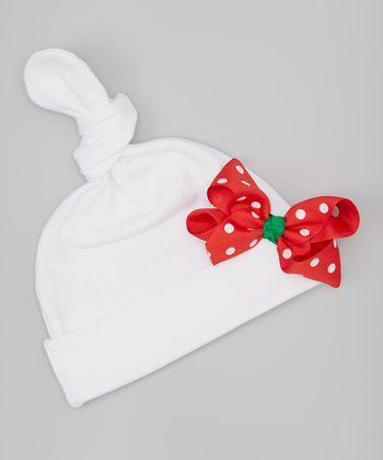 White & Red Big Polka Dot Bow Single-Knot Beanie