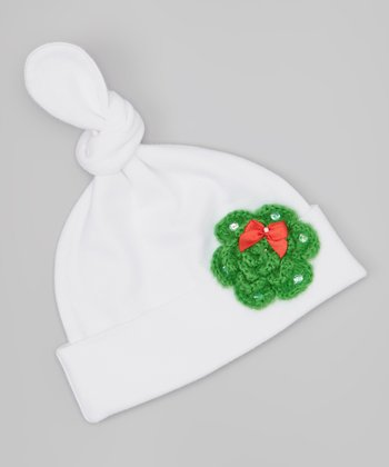 White & Green Wreath Flower Single-Knot Beanie