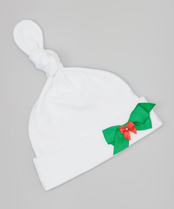 White & Green Double Bow Single-Knot Beanie