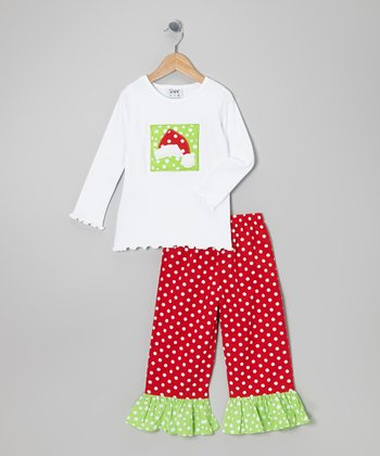 White Santa Hat Tee & Red Ruffle Pants - Infant, Toddler & Girls