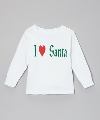 White 'I Love Santa' Tee - Toddler & Girls
