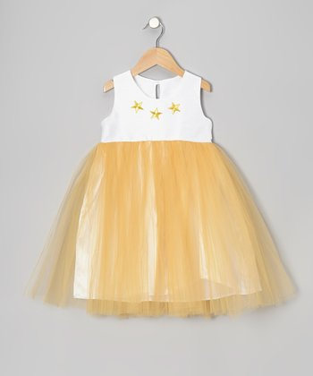Gold Star Tulle Dress - Toddler & Girls