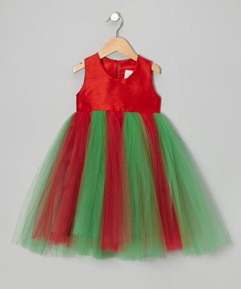 Red & Green Tulle Dress - Toddler & Girls