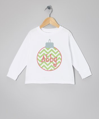 White Zigzag Ornament Personalized Tee - Infant, Toddler & Girls