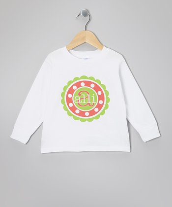 White Polka Dot Circle Personalized Tee - Infant, Toddler & Kids