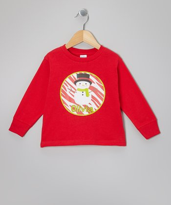Red Snowman Personalized Tee - Infant, Toddler & Girls