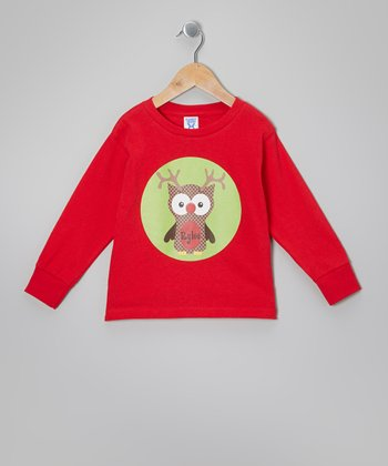 Red Reindeer Owl Personalized Tee - Infant, Toddler & Kids