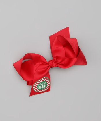 Red Zigzag Monogram Bow Clip